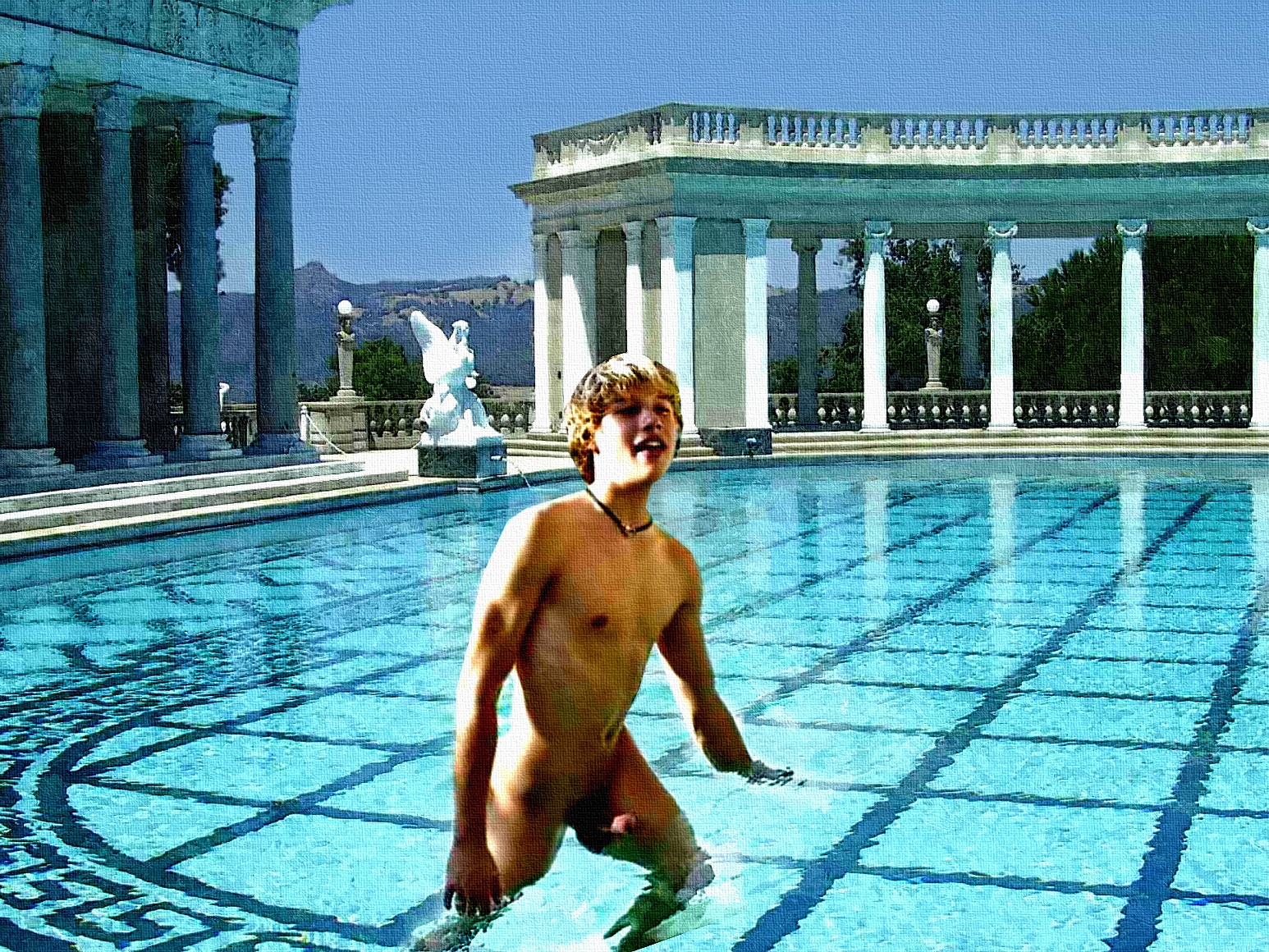 nude boys in pool